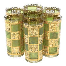 Vintage Culver Prado Green Gold Collins Glasses | The Hour