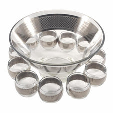 Vintage Checkered Mercury Punch Bowl Set, The Hour