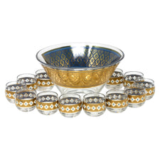Vintage Culver Gold & Blue Punch Bowl Set | The Hour Shop