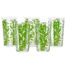 Vintage Art Deco Green Floral Tumbler Glasses, The Hour Shop
