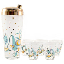 Aqua & Gold Fruits Shaker Set