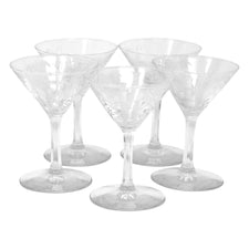 Vintage Mid Century Etched Bamboo Cocktail Glasses | The Hour Shop