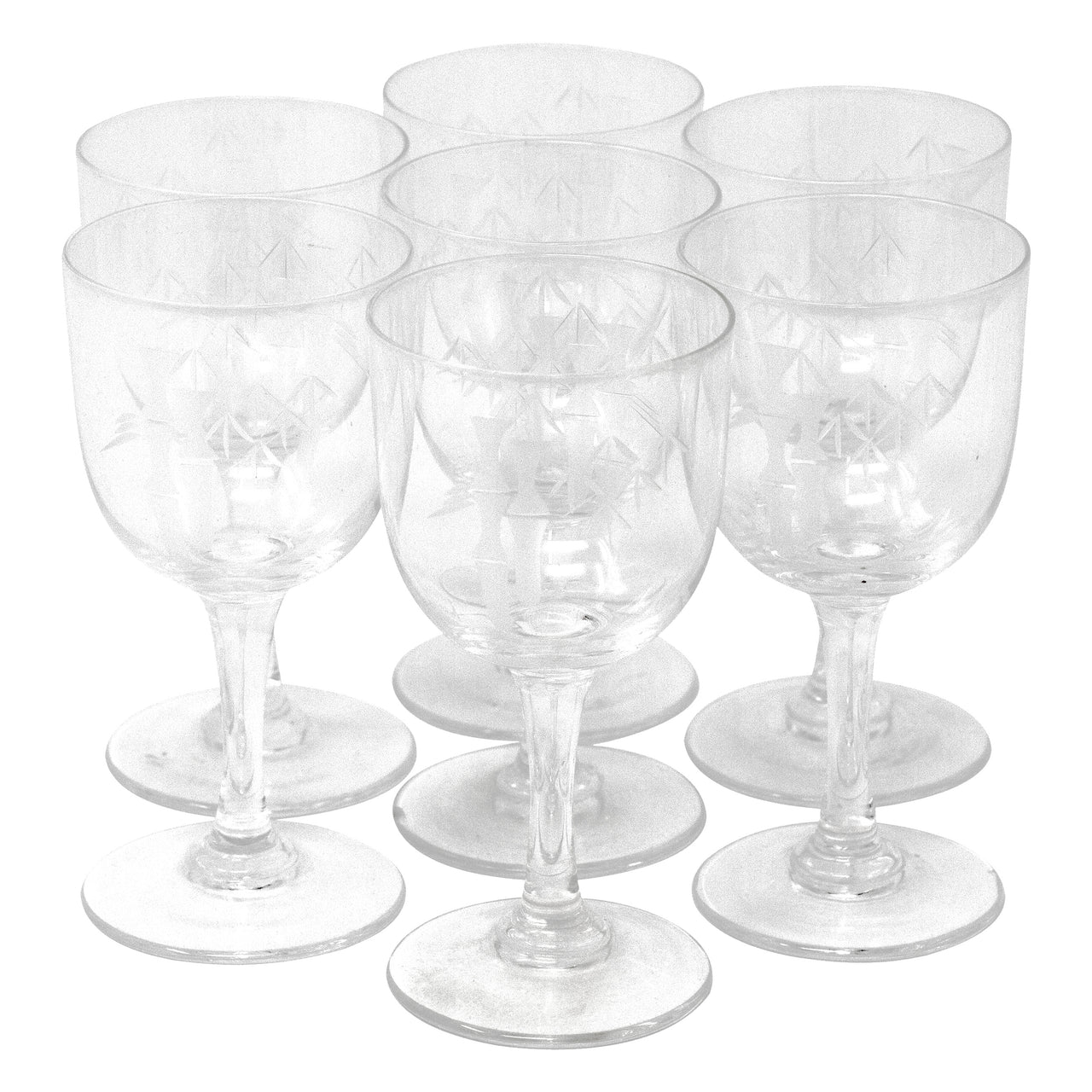 Vintage Mid Century Etched Bamboo Cordial Glasses | The Hour Shop