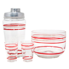Vintage Red & White Stripe Cocktail Shaker Set Front | The Hour Shop