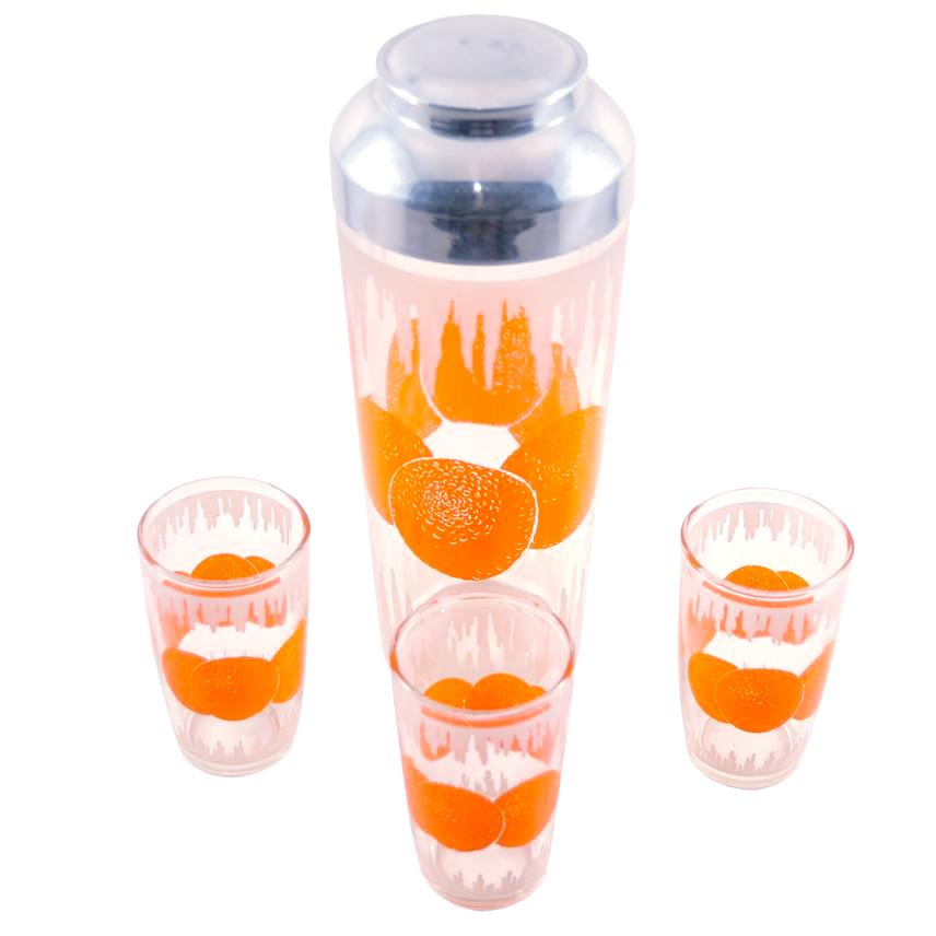 Hazel Atlas Oranges Cocktail Shaker Set | The Hour Vintage
