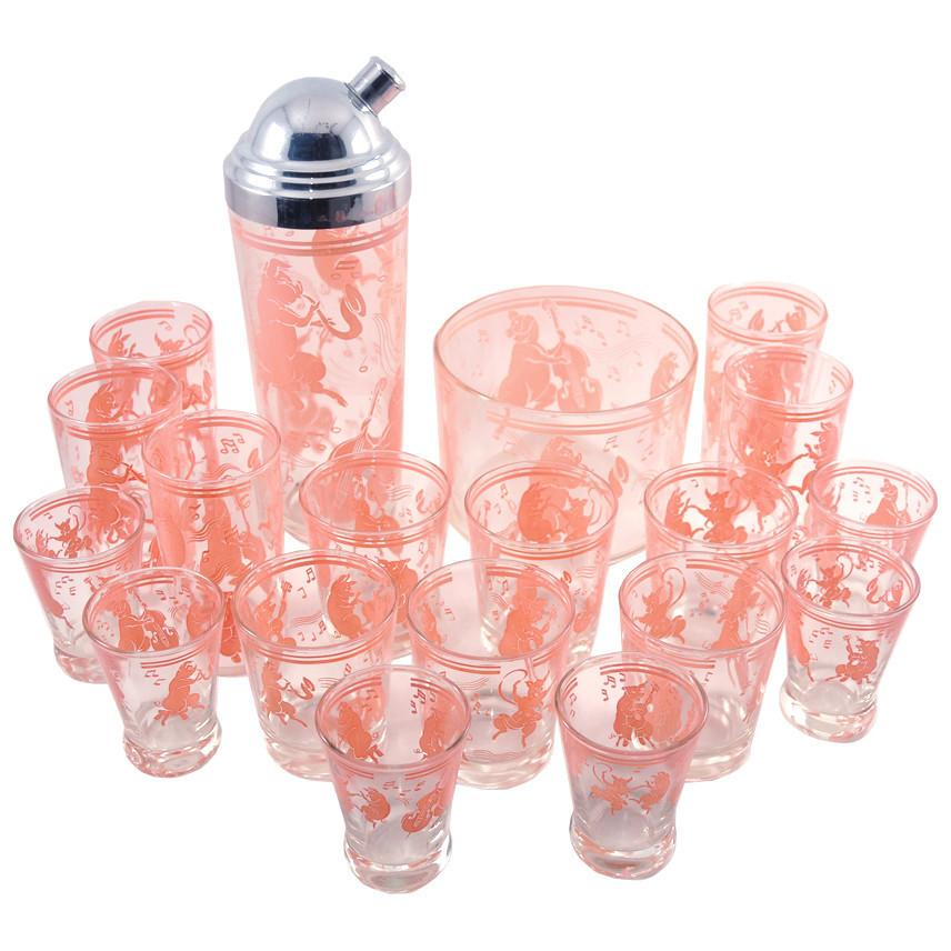 Vintage Pink Musical Pigs Cocktail Shaker Set | The Hour Shop