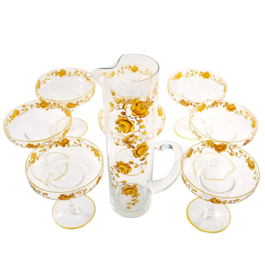 Gold Roses Margarita Pitcher Set, The Hour Shop Vintage