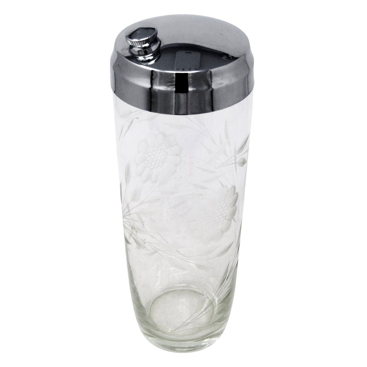 Vintage Etched Cornflower Cocktail Shaker Top | The Hour Shop