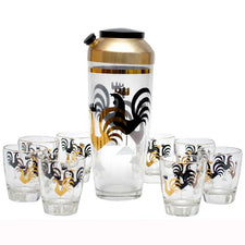 Vintage Black & Gold Rooster Cocktail Shaker Set, The Hour Shop