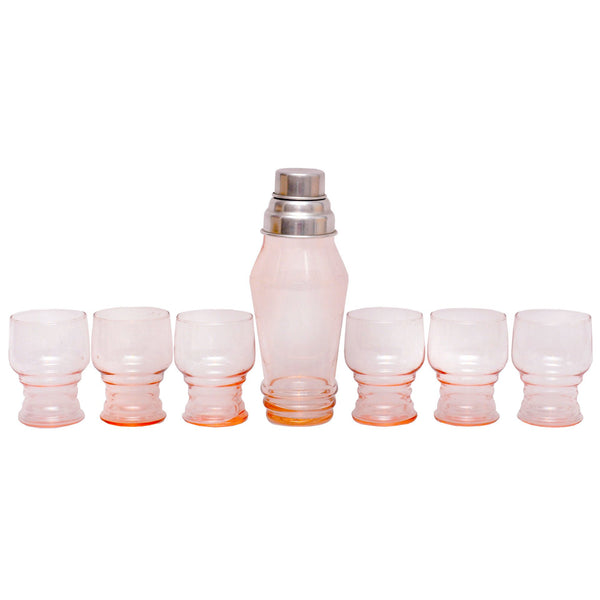 Vintage Pink Depression Glass Cocktail Set, The Hour