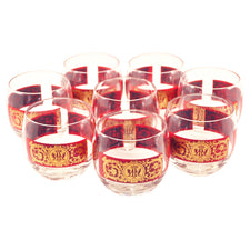 Vintage Red Gold Band Roly Poly Glasses | The Hour