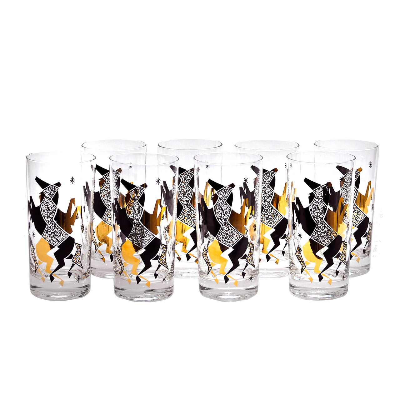 Vintage Black & Gold Mod Horse Collins Glasses | The Hour Shop