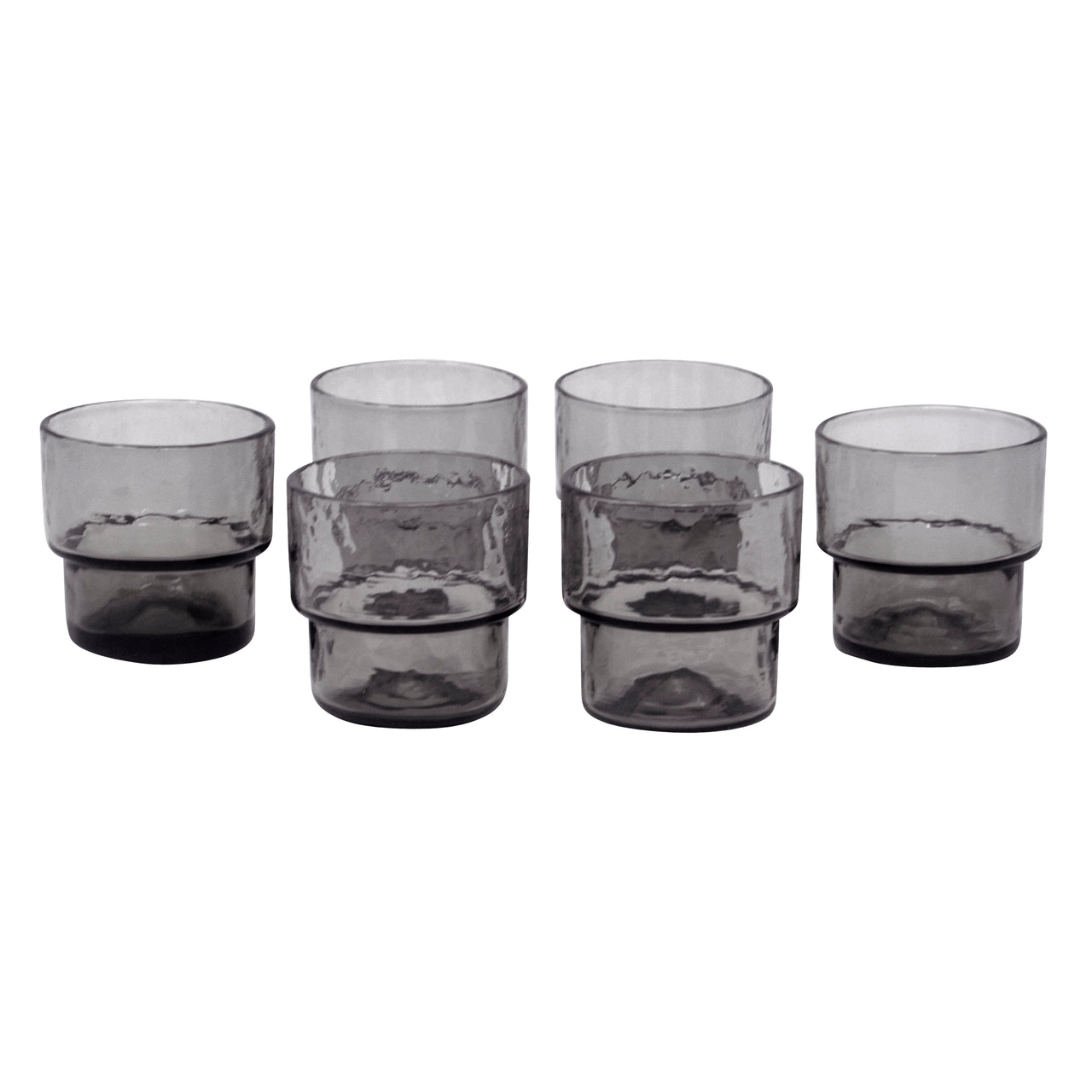 Stackable Small Smoke Glass Footed Rocks Glasses