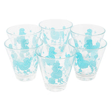 Vintage Aqua Stars and Poodles Single Old Fashioned Glasses | The Hour Shop