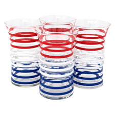 Red White and Blue Stripe Ridged Tumblers