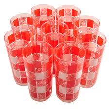 Vintage Red & White Checkered Collins Glasses, The Hour Shop