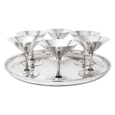 Vintage Silver Plate Martini Stems and Tray Cocktail Set Front | The Hour Shop
