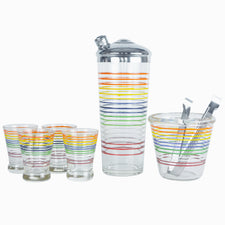 Vintage Stripe Cocktail Shaker Ice Bucket Glass Set, The Hour Shop