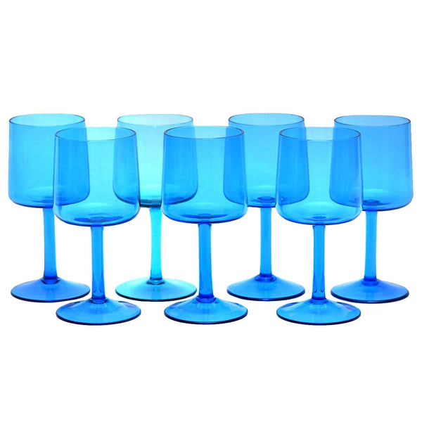 MCM Vintage Aqua Blue Cocktail Wine Glasses, The Hour Shop