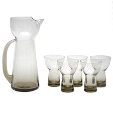 MCM Smoke Glass Cocktail Pitcher Set, The Hour Shop