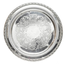 Vintage International Silver Round Silver Plate Tray | The Hour Shop