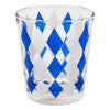 Vintage Blue & White Diamond Cocktail Shaker Set Rocks Glass | The Hour Shop