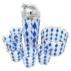 Vintage Blue & White Diamond Cocktail Shaker Set Top | The Hour Shop