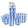 Vintage Blue & White Diamond Cocktail Shaker Set | The Hour Shop