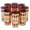 Vintage Culver Cranberry Scrolls Collins Glasses | The Hour Shop