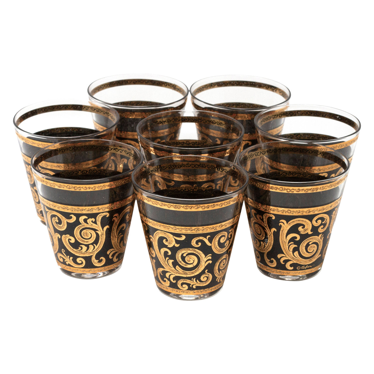 Vintage Culver Black & Gold Ebony Baroque Double Old Fashioned Glasses | The Hour Shop