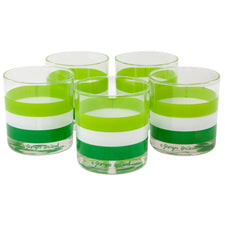 Vintage Georges Briard Green Striped Rocks Glasses | The Hour Shop