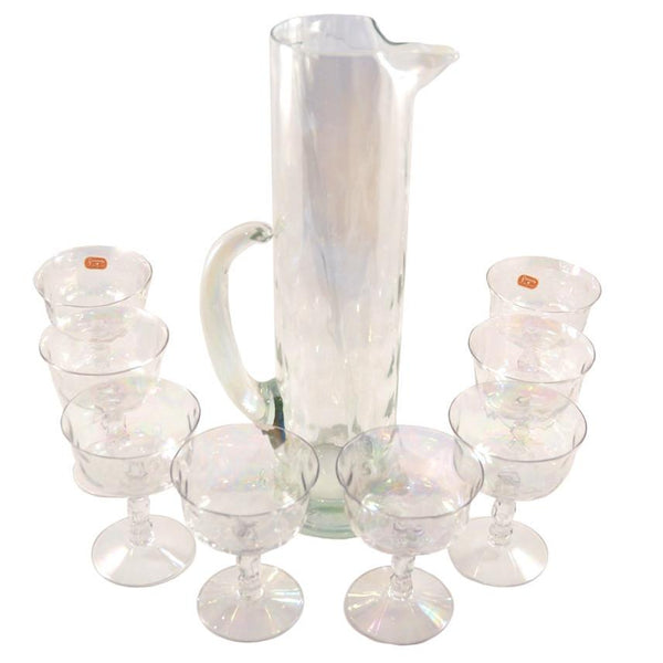 Draping Iridescent Cocktail Pitcher Set, The Hour Shop Vintage Glasses Glassware