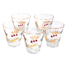 Vintage Red Cherries and Gold Leaves Single Old Fashioned Glasses | The Hour