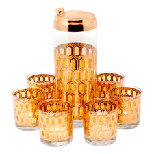 Vintage Gold and Green Hexagon Cocktail Shaker Set | The Hour Shop