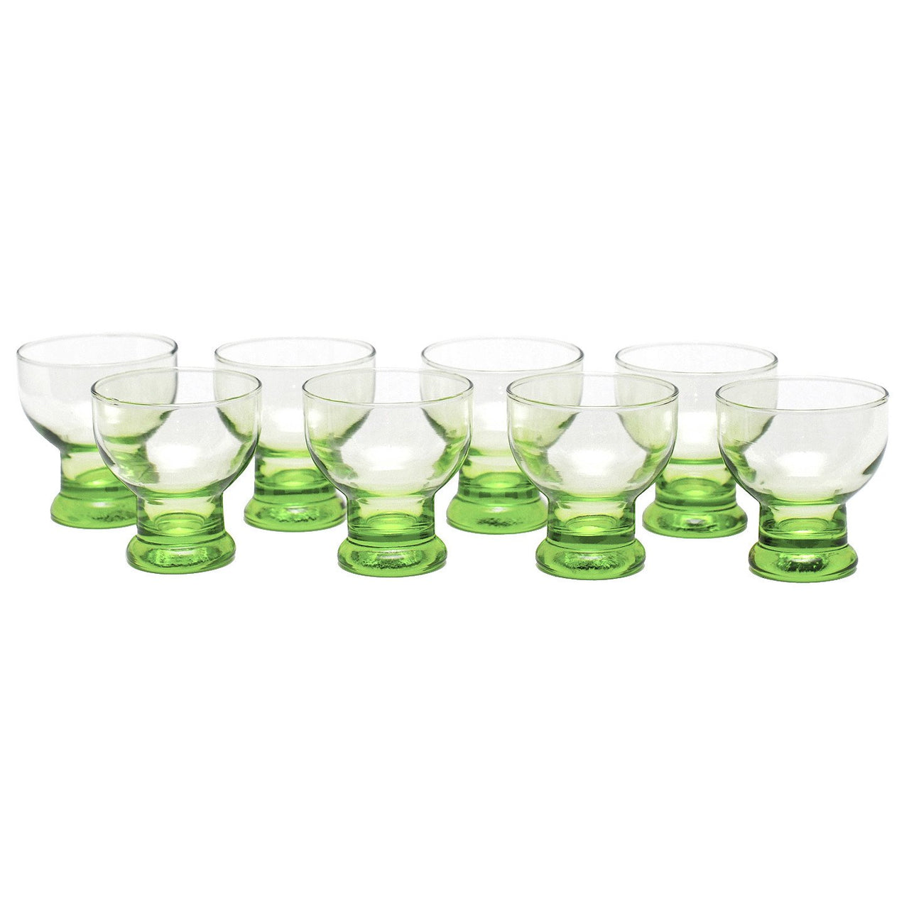 Vintage Green Footed Cocktail Glasses, The Hour Shop Glassware