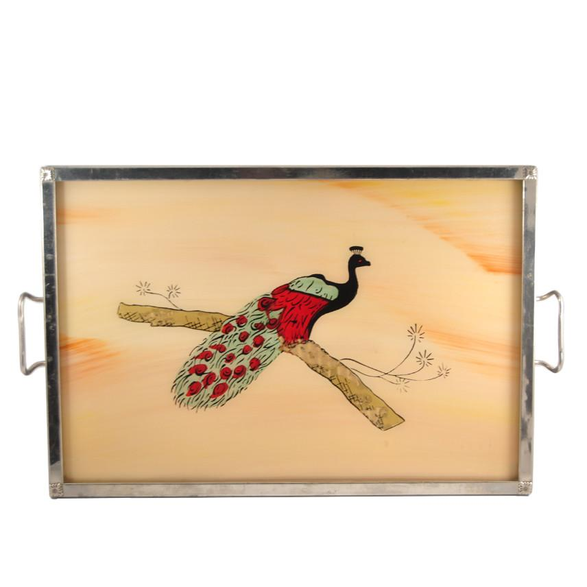 Reverse Painted Peacock Tray | The Hour Shop Vintage Art Deco