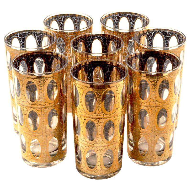 Culver Pisa Gold Oval Collins Glasses, The Hour Shop Vintage