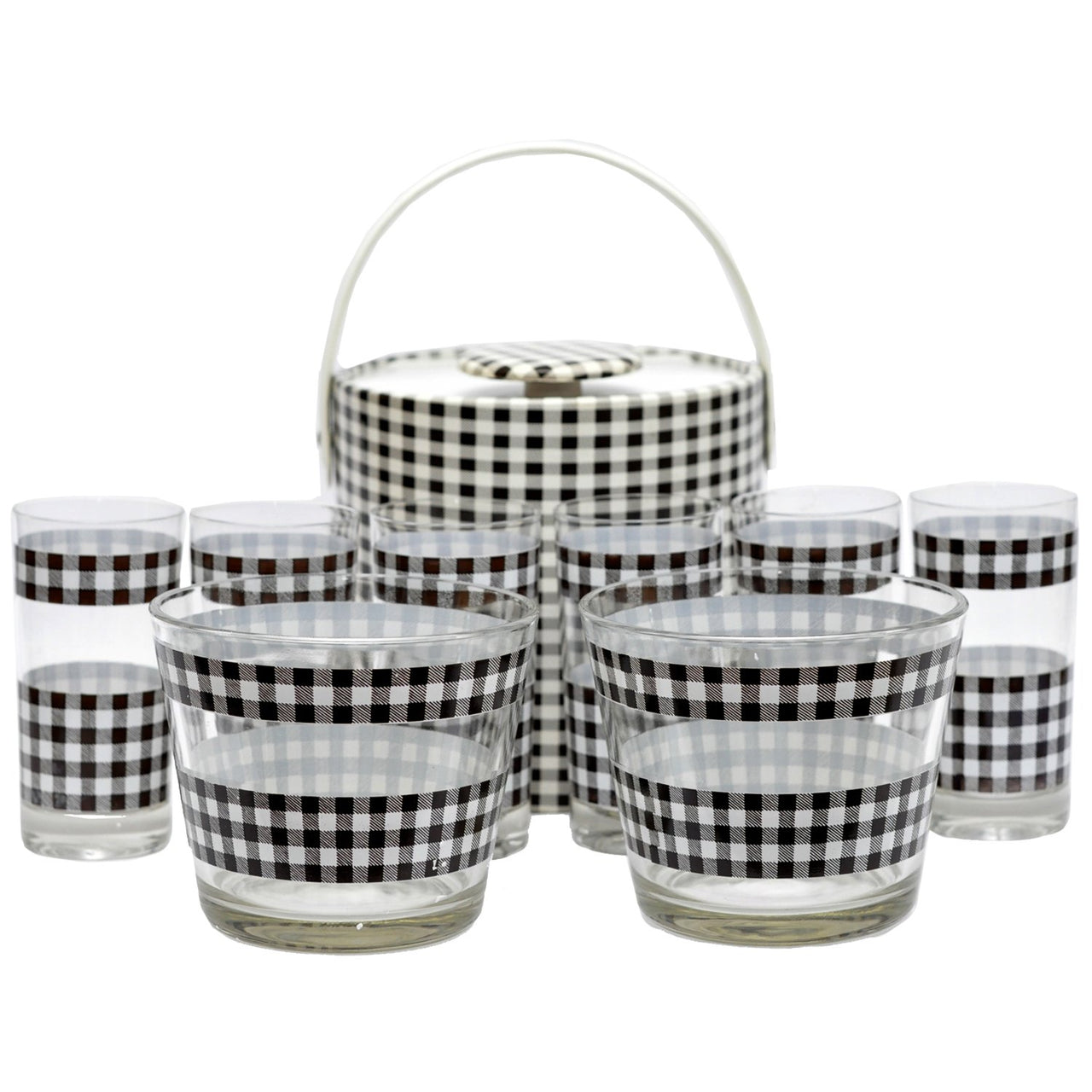 Vintage Brown & White Check Ice Bucket Glass Set The Hour Shop