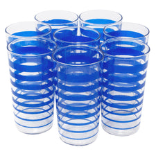 Vintage Mid Century Blue Stripe Tumblers | The Hour Shop