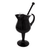 Vintage Black & White Cased Glass Footed Cocktail Pitcher Set Pitcher and Stirrer Front  | The Hour Shop