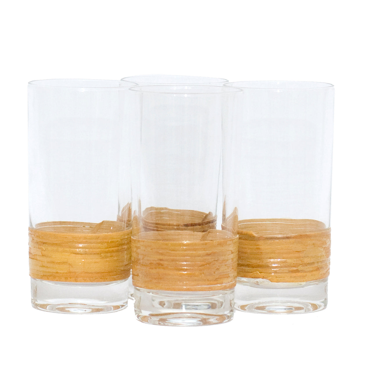 Vintage Rattan Wrapped Base Collins Glasses | The Hour Shop
