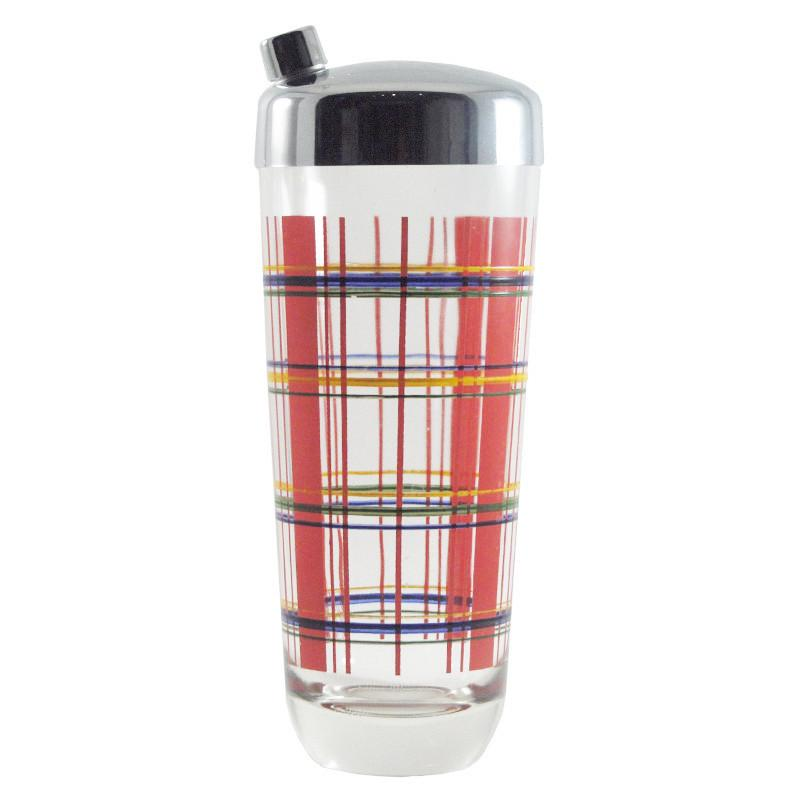 Vintage Hand Painted Plaid Glass Cocktail Shaker, The Hour