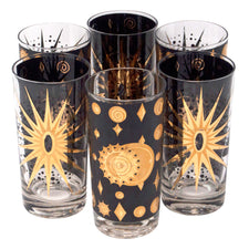 Vintage Fred Press Black Celestial Collins Glasses | The Hour Shop