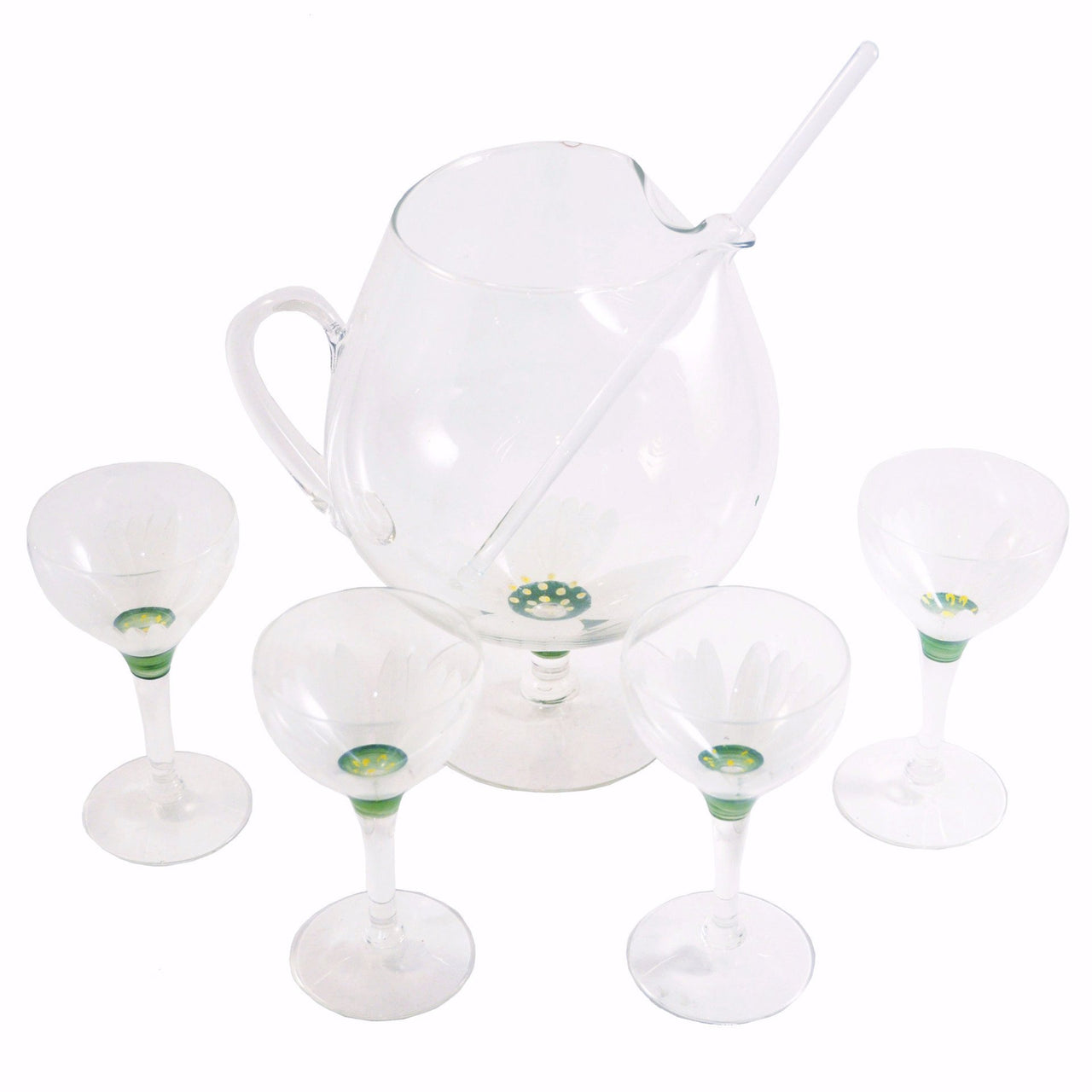 Vintage Flower Cocktail Pitcher & Glasses Set, The Hour