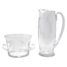 Vintage Heisey Frosted Flowers Cocktail Pitcher Set Front | The Hour Shop