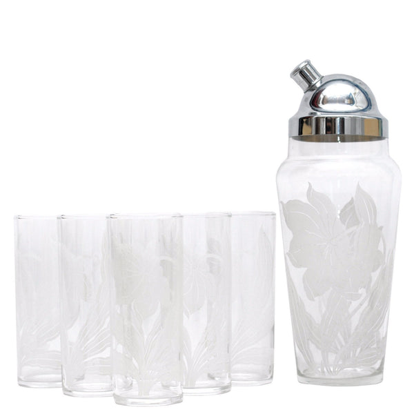 White Flower Cocktail Shaker Set, The Hour Shop Vintage Barware
