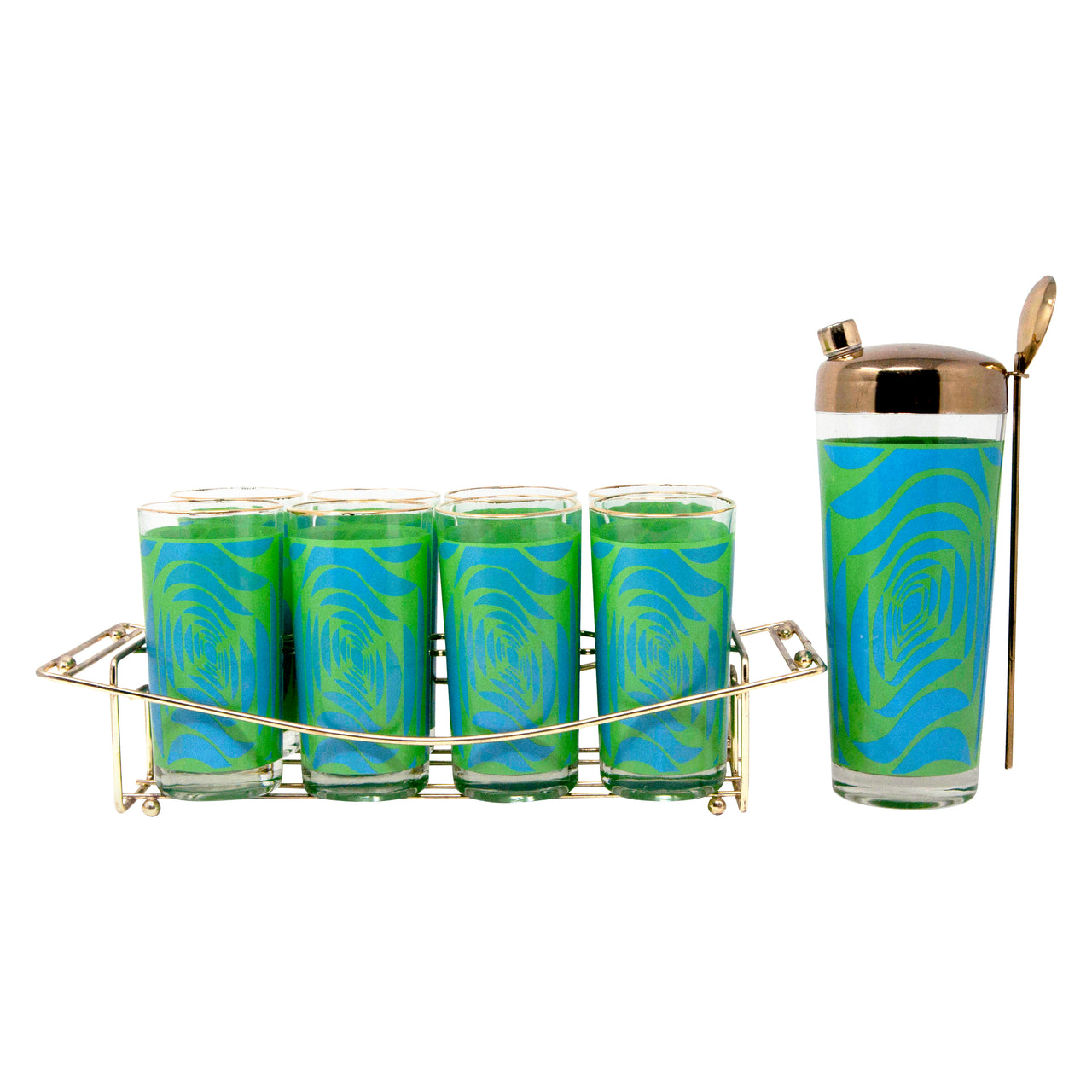 Vintage Blue and Green Mod Pattern Cocktail Shaker Caddy Set Front | The Hour Shop