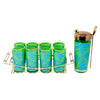 Vintage Blue and Green Mod Pattern Cocktail Shaker Caddy Set | The Hour Shop