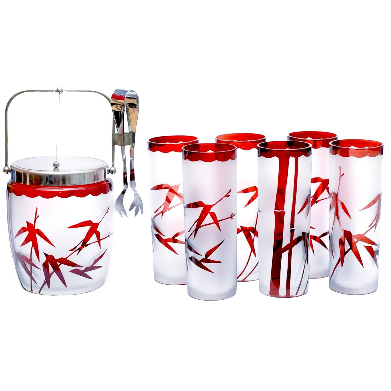 Vintage Ruby Red Bamboo Ice Bucket Bar Glass Set, The Hour Shop