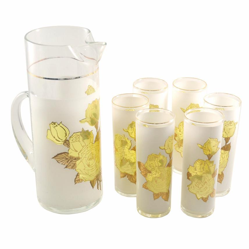 West Virginia Glass Yellow Roses Pitcher Set | The Hour Vintage
